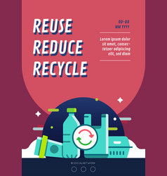 Reuse reduce recycle campaign poster layout vector