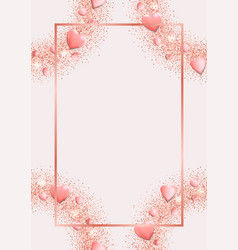 Romantic pink template with top view hearts vector