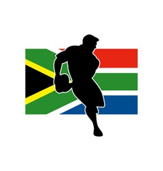 Rugby running player flag of south africa vector