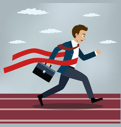 Running businessman crosses a red ribbon vector