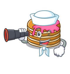 Sailor with binocular pancake with strawberry vector