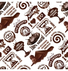 seamless pattern of chocolate labels vector image