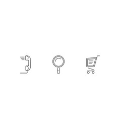 search call and basket icon set for website or vector image