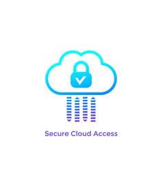 Secure cloud access safe protected hosting icon vector