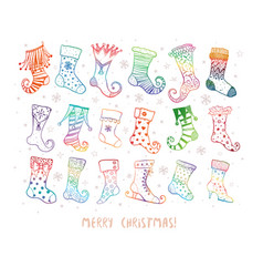 set doodle colored christmas gift socks on vector image