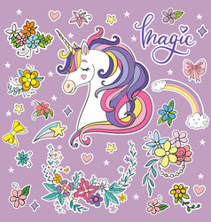 Set dreaming cartoon unicorn vector
