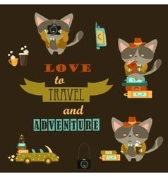 Set of cats travelers vector