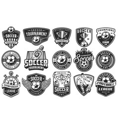 set soccer emblems vector image