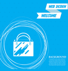 shopping bag icon on a blue background with vector image
