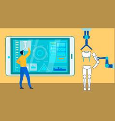 Smart industry expert at work flat vector