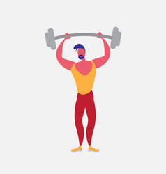 sportsman athlete holding barbell strong male vector image