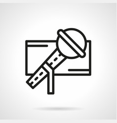 Stage microphone simple line icon vector