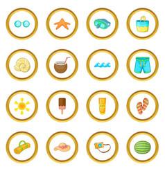 Summer items icons circle vector