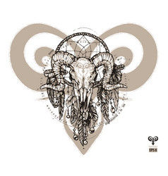 Tattoo aries and dream catcher vector