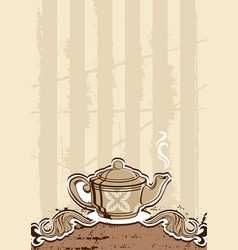tea menu with teapot vector image