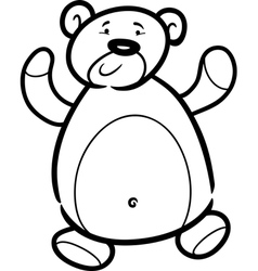 teddy bear cartoon for coloring book vector image