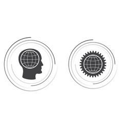 The globe in the head and gear vector