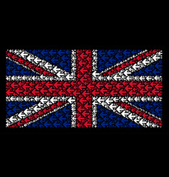 Uk flag collage of arrow left items vector