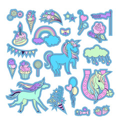 unicorn multicolor stickers with clouds vector image
