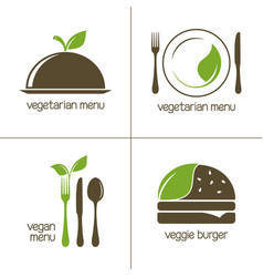 vegetarian food icons vector image