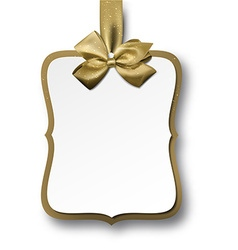 White paper gift card with golden bow vector image