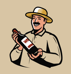 wine production farmer with bottle in hands vector image