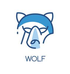wolf logo design blue label badge or emblem vector image