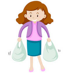 Woman with two shopping bags vector
