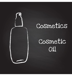 Bottle of cosmetic oil painted with chalk on vector image