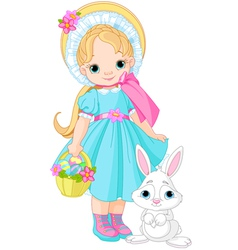 little girl with easter rabbit vector image vector image