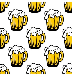 Pint of frothy beer seamless background pattern vector image vector image