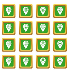 Points of interest icons set green vector