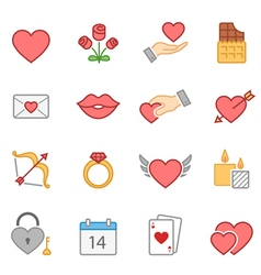 valentine color icon set vector image