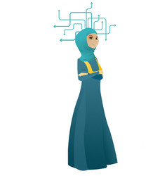 Young muslim business woman thinking vector