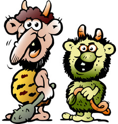 cartoon of two funny goblins or trolls monsters vector image vector image