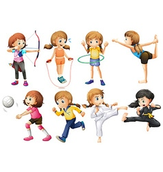 Girls doing different kinds of sport vector image
