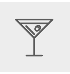 Glass of martini thin line icon vector image