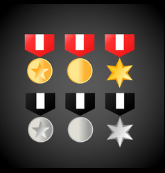 military medals golden and silver medal icons vector image vector image