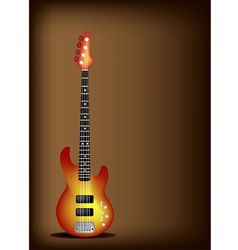 Red Electric Guitar on Dark Brown Background vector image vector image