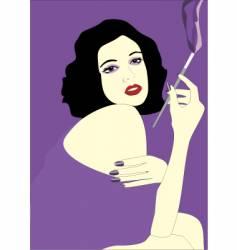 vintage smoking girl vector image