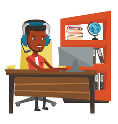 African-american man playing computer game vector