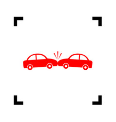 crashed cars sign red icon inside black vector image vector image