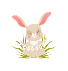 cute cartoon bunny in beads made from eggs sitting vector image