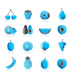 Different kind of fruit and icons vector image vector image