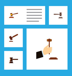 flat icon lawyer set of legal hammer government vector image
