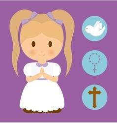 girl kid cartoon dove cross rosary icon vector image