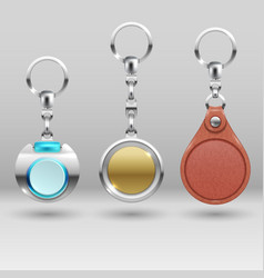 realistic keychains car key holders set vector image vector image