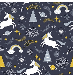 seamless pattern with unicorns Christmas theme vector image vector image