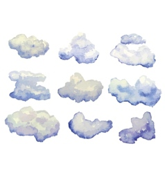 set of watercolor clouds isolated on white vector image