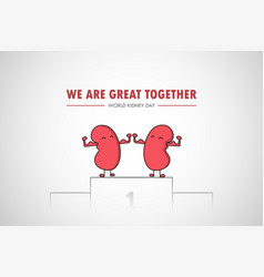world kidney day cartoon health awareness medical vector image vector image